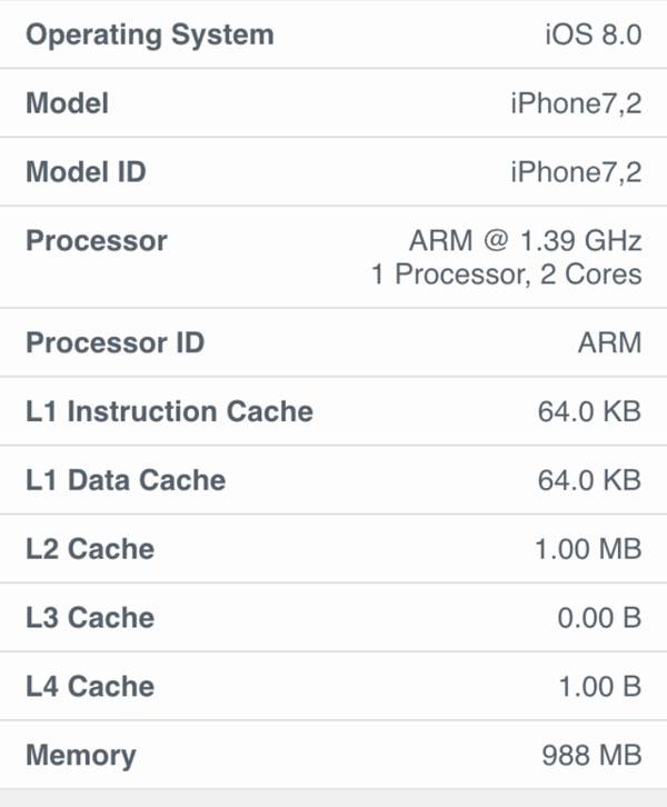 cấu hình iphone 6